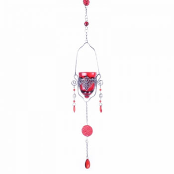 Extra image of Single Hanging Red Glass Tealight Holder For Outside Or In