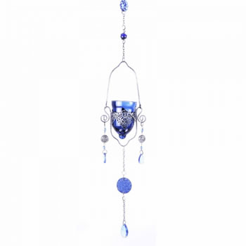 Extra image of Single Blue Hanging Glass Tealight Holder For Outside Or In