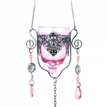 Image of Single Hanging Pink Glass Tealight Holder For Outside Or In