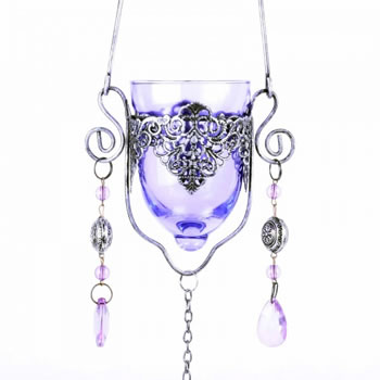 Image of Single Hanging Purple Glass Tealight Holder For Outside Or In