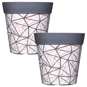 Image of 2 x Single 22cm Grey Geometric Plastic Garden Planter 5L Flowerpot by Hum