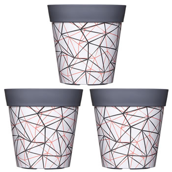 Image of 3 x Single 22cm Grey Geometric Plastic Garden Planter 5L Flowerpot by Hum