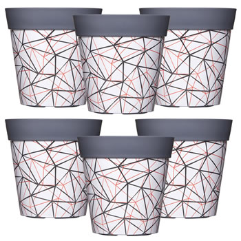 Image of 6 x Single 22cm Grey Geometric Plastic Garden Planter 5L Flowerpot by Hum
