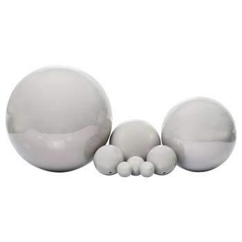 Image of 8pc Set of Grey Stainless Steel Garden Mirror Sphere Gazing Ball Ornaments - 2.5 to 18cm Diameters