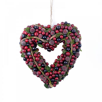 Image of Artificial Frosted Red Berry & Vine Hanging Heart Christmas Wreath