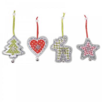 Image of Four Hanging Metal Tree Decorations with Snowflake & Checked Fabric Detail