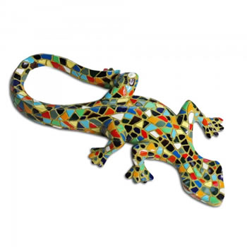 Image of Harlequin Mosaic Resin Lizard Garden Ornament