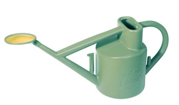 Image of Haws Practican 6L Watering Can Brass-Faced Rose + Down Spout - Sage