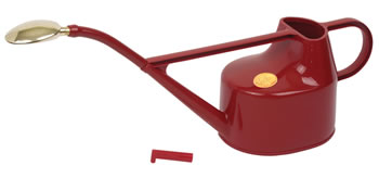 Image of Haws 5L Deluxe Outdoor Watering Can + Brass Rose + Down Spout - Red