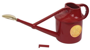 Image of Haws 7-Litre Deluxe Outdoor Watering Can + Brass Rose + Down Spout, Red