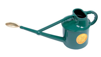 Image of Haws 7L Deluxe Outdoor Watering Can + Brass Rose + Down Spout - Green