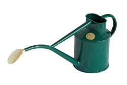 Image of Haws Hand-Made 1-litre Metal Watering Can & Brass Rose, Gift Boxed, Racing Green