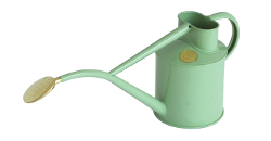 Image of Haws Hand-Made 1-litre Metal Watering Can & Brass Rose, Gift Boxed, Sage Green