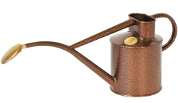 Image of Haws Hand-Made 1-litre Metal Watering Can & Brass Rose Gift Boxed Bronze