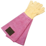 Small Image of Haws Leather Ladies Gauntlet Gardening Gloves Handmade Thornproof Pink