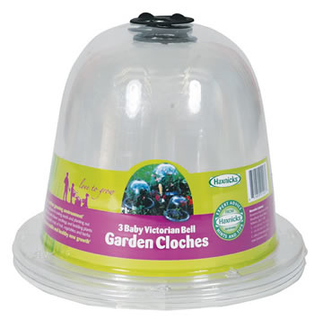 Image of 3 x Haxnicks Clear Plastic Baby Bell Jar Cloches: With Pegs