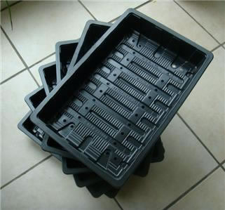 Image of 6x Full-Size Standard Seed Trays: recycled plastic, with drainage holes