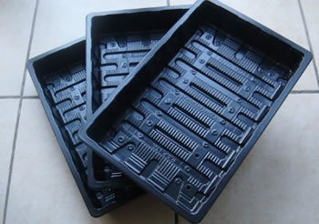 Image of 6x Standard Full-Size Seed Trays propagation, recycled plastic, no drainage holes