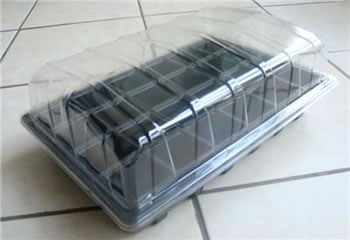 Image of 3x Full-Size Seed Propagator Sets: Tray, 40-Cell Insert, Lid