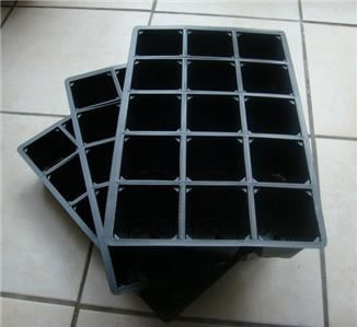 Image of 3x 15-Cell Seed Tray Cavity Inserts: Recycled Plastic