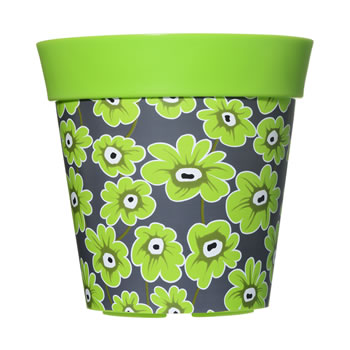 Image of Single 22cm Green Floral Plastic Garden Planter 5L Flowerpot by Hum