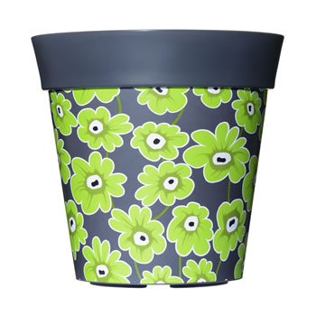 Image of Single 22cm Grey & Green Floral Plastic Garden Planter 5L Flowerpot by Hum
