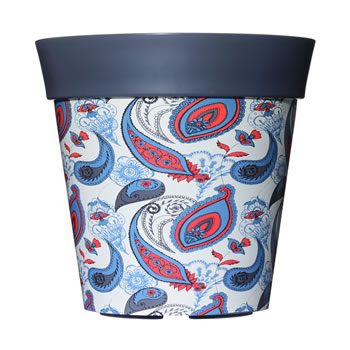 Image of Single 22cm Grey Paisley Plastic Garden Planter 5L Flowerpot by Hum
