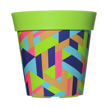 Image of Single 22cm Green Trapezoid Plastic Garden Planter 5L Flowerpot by Hum
