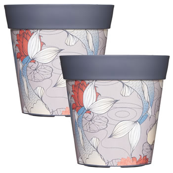 Image of 2 x 22cm Grey Ink Fish Plastic Garden Planter 5L Flowerpot by Hum