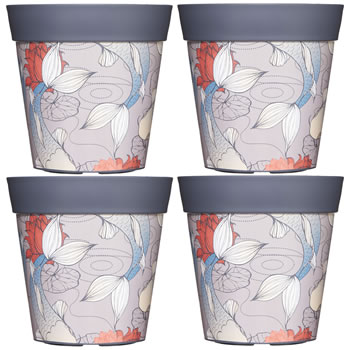 Image of 4 x 22cm Grey Ink Fish Plastic Garden Planter 5L Flowerpot by Hum
