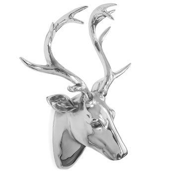 Image of Large Silver Finish Resin Wall Mountable Stag's Head Sculpture Feature Home Decor