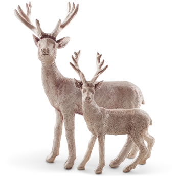Image of Pair of Standing Gold Christmas Stag Figurine Ornaments