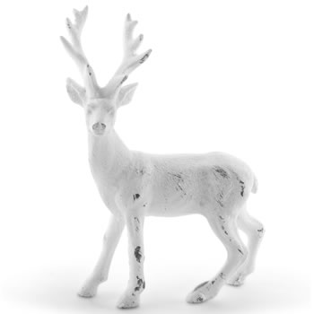 Image of 15cm Standing White Glitter Christmas Stag Ornament