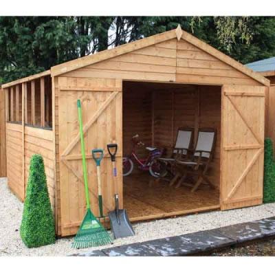 10 x 10 overlap double door apex wooden garden shed 659 for 10x10 shop door