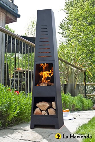 La Hacienda Skyline Black Steel Garden Chiminea With Laser