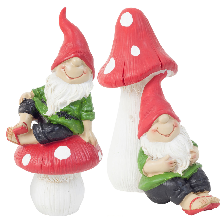 Gnome 4: Set Of 2 15cm Mushroom Sitting Garden Gnome Ornaments In
