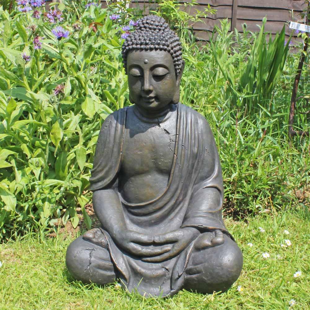 Xxl detailed stone look resin buddha garden ornament 68cm for Outdoor buddha