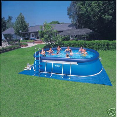 Intex 20ft x 12ft x 48 oval framed above ground pool with for Garden pool accessories