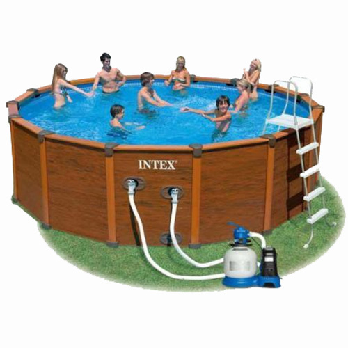 intex 15ft 8 x 49 sequoia spirit wood grain frame pool with sand filter and accessories 28382. Black Bedroom Furniture Sets. Home Design Ideas