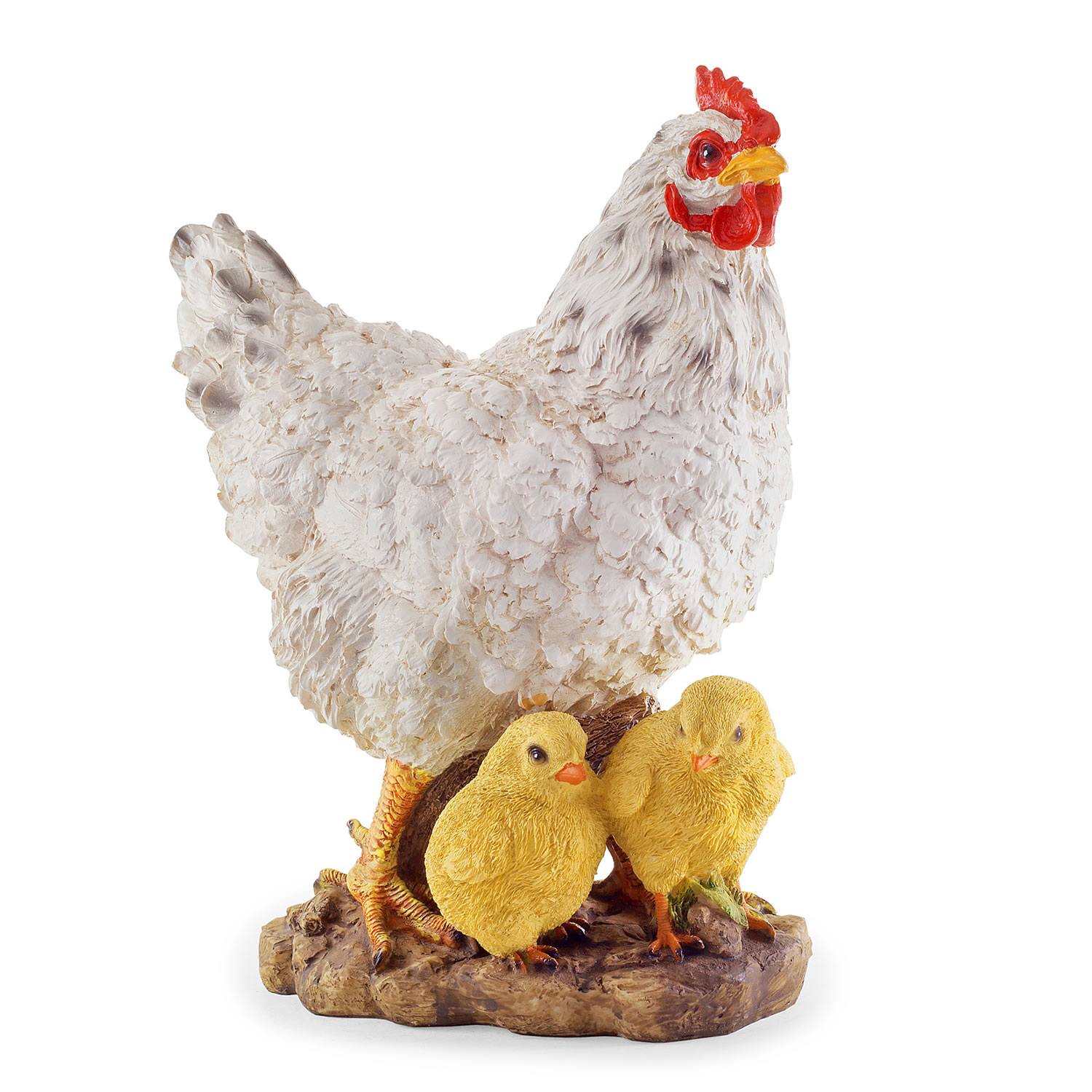 Large Realistic Resin White Hen Chicken N Chicks Garden