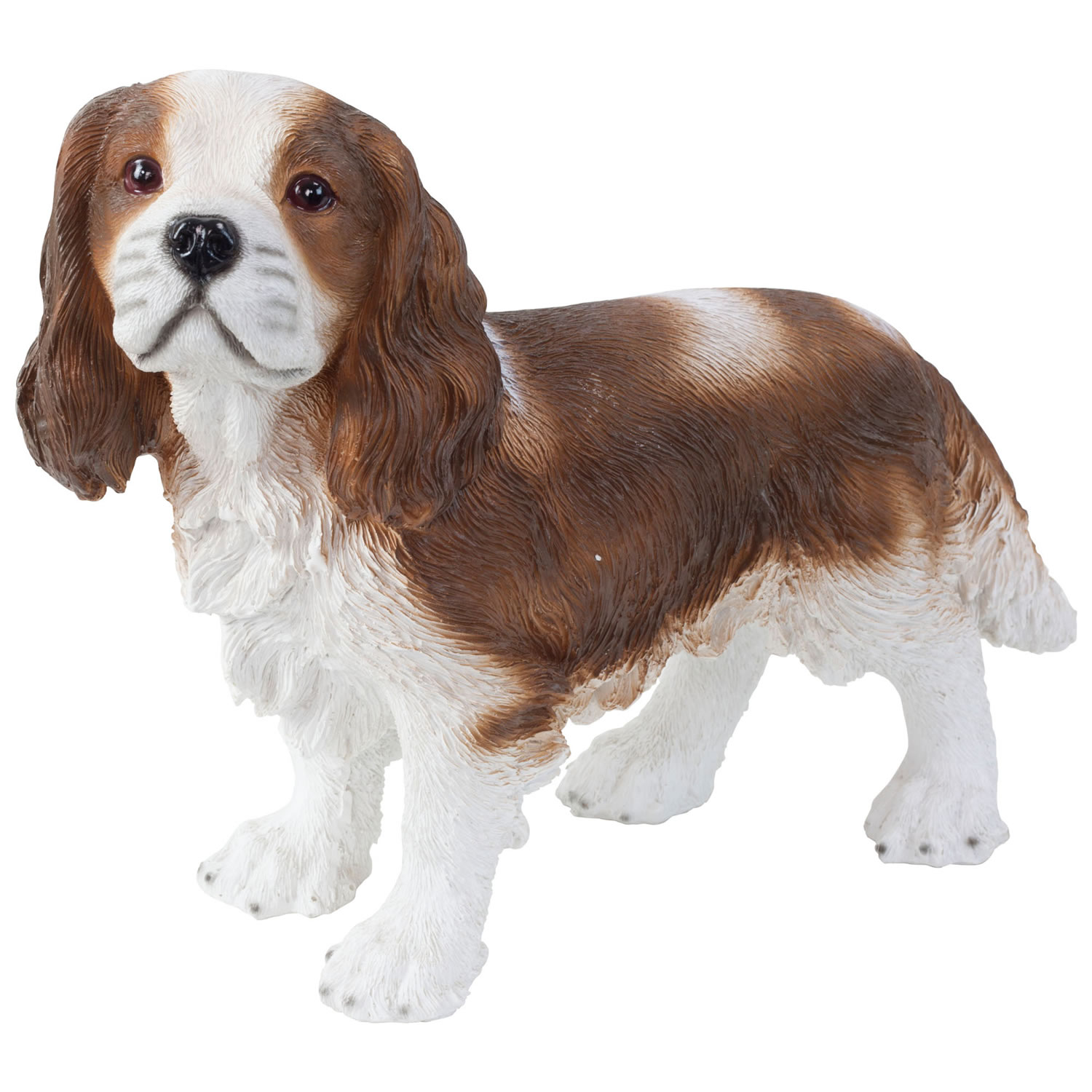 Realistic 30cm Standing King Charles Spaniel Dog Statue