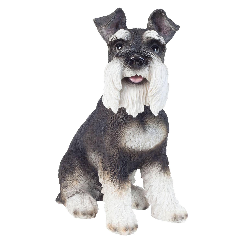Realistic 33cm Sitting Miniature Schnauzer Dog Statue