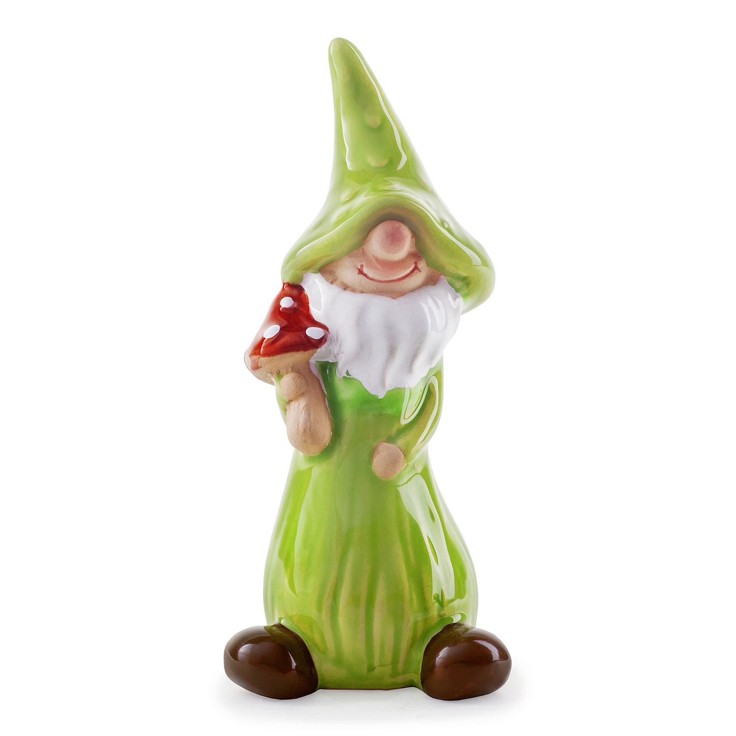 Jimmy the mushroom collecting terracotta garden gnome for Quirky ornaments