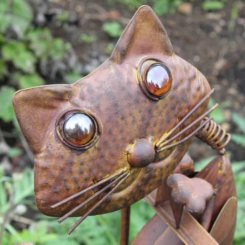 Rocking Metal Cat Garden Ornament Feature - £24.95 ... on Backyard Ornaments id=95117