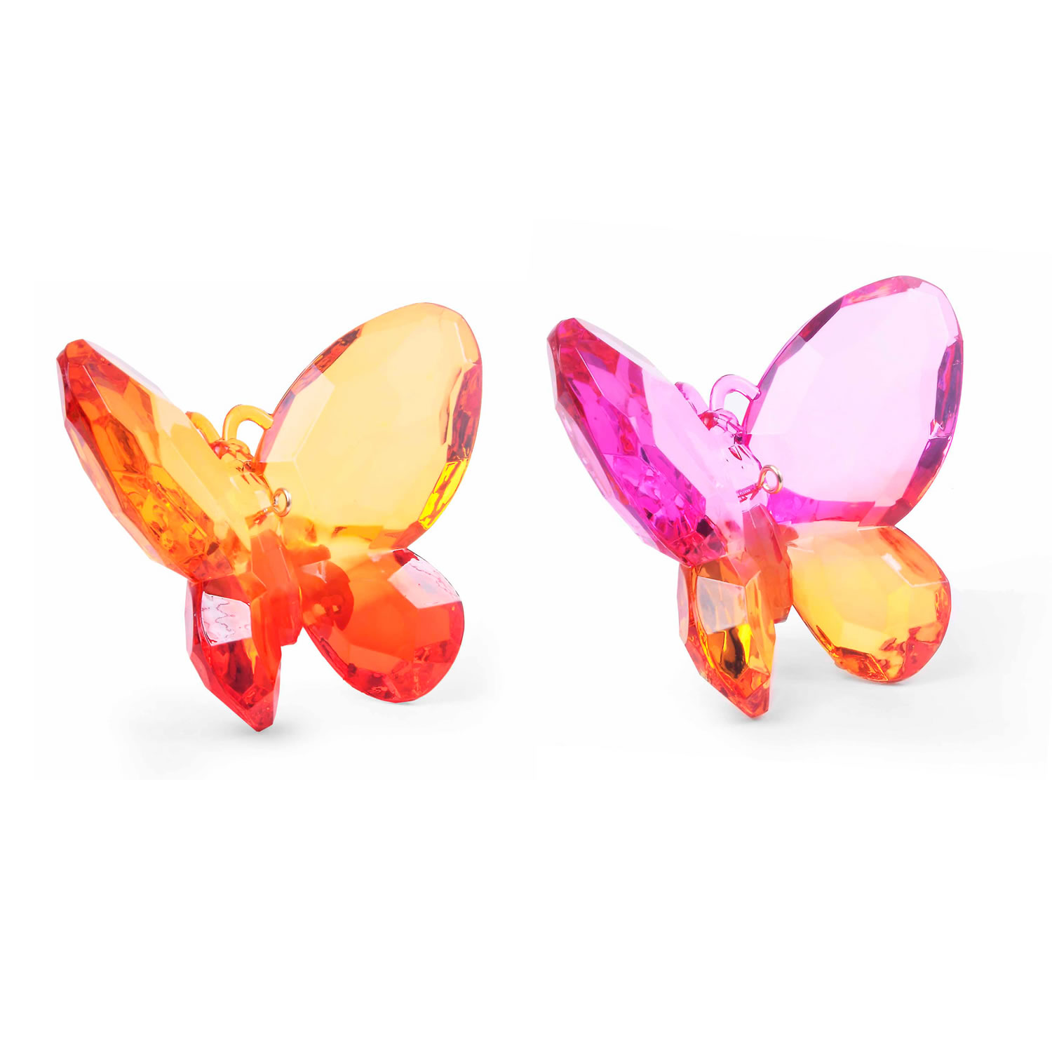 Colourful faceted acrylic butterfly hanging ornament set for Outdoor butterfly ornaments