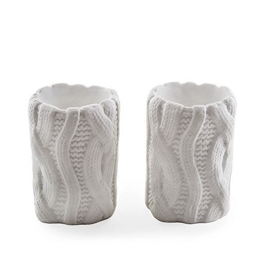 ebab56b96b Small Image of Set of Two White Woolen Effect Tealight Candle Holders for  Home Christmas Display