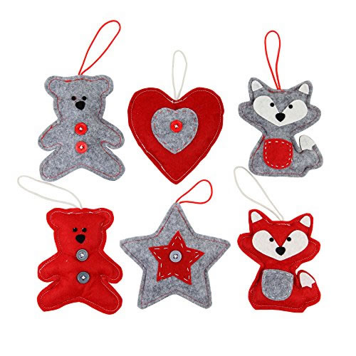 Felt Christmas Decorations Uk.Set Of 6 Red Grey Felt Christmas Tree Decorations