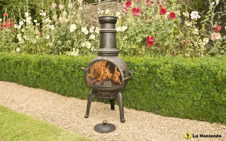 Bronze 95cm lisbon cast iron steel chiminea chimenea patio heater garden4less uk shop - La hacienda chimenea ...