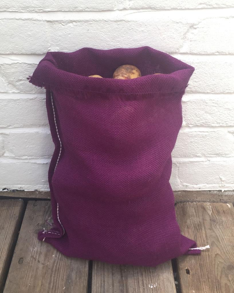 fd703ac4 Small Image of 3 x Nutley's Purple Coloured Hessian Potato Sack 30 x 45cm