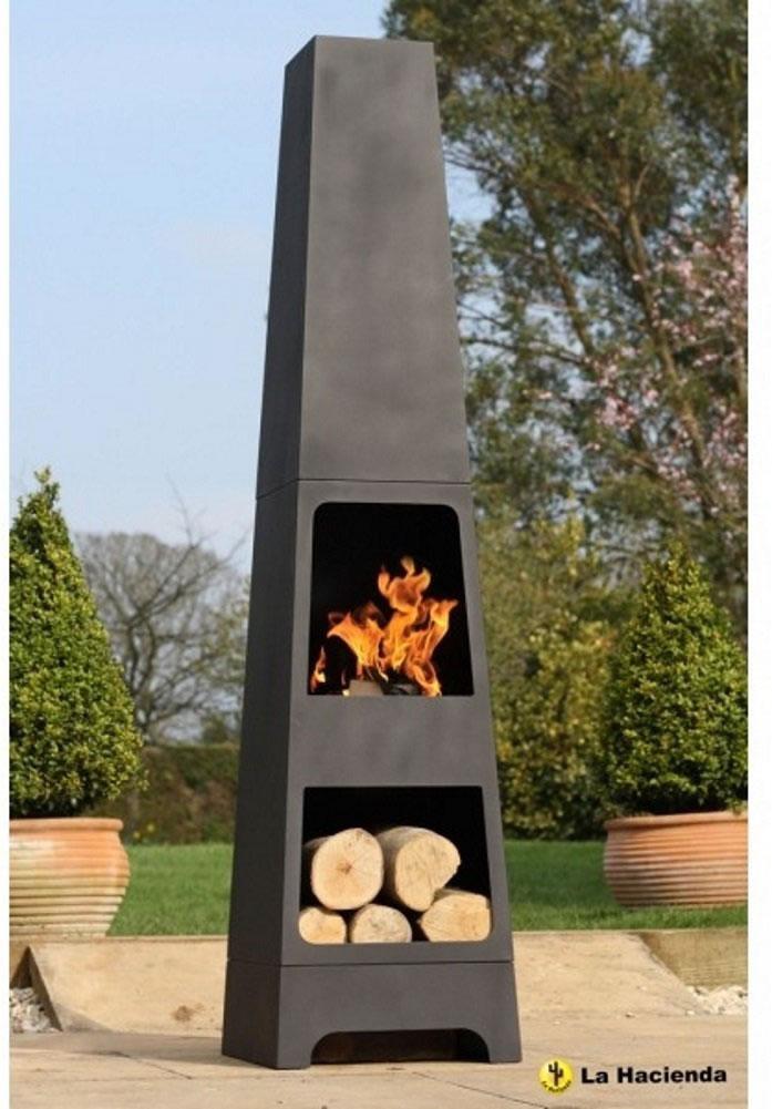 La hacienda malmo steel 150cm chiminea chimenea patio heater with wood store - La hacienda chimenea ...
